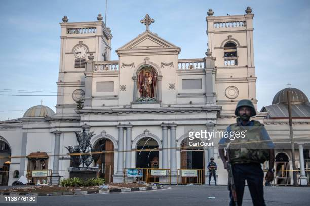 Military personnel guard St Anthony's Shrine on April 23 2019 in Colombo Sri Lanka At least 290 people were killed with hundreds more injured after...