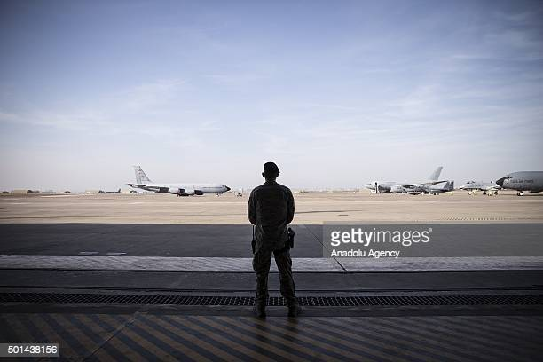 A military personnel is seen prior to the United States Secretary of Defense Ashton Carter's visit to Incirlik Airbase in Adana southern Turkey on...