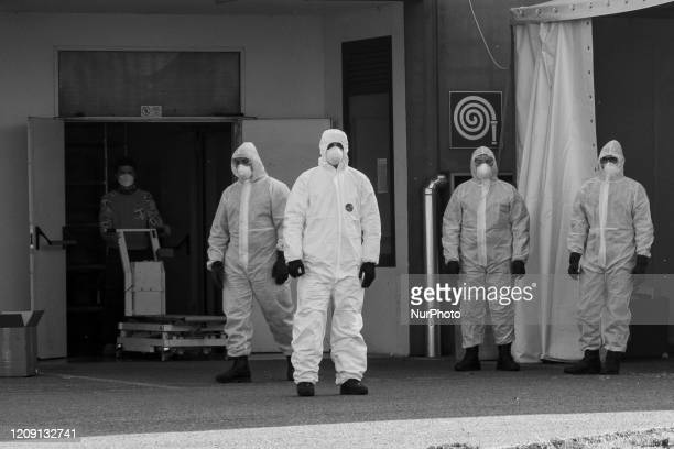 Military personnel leave the churches from Bergamo to carry coffins of coronavirus pandemic victims to crematorium in Padova Italy on April 2 2020 in...