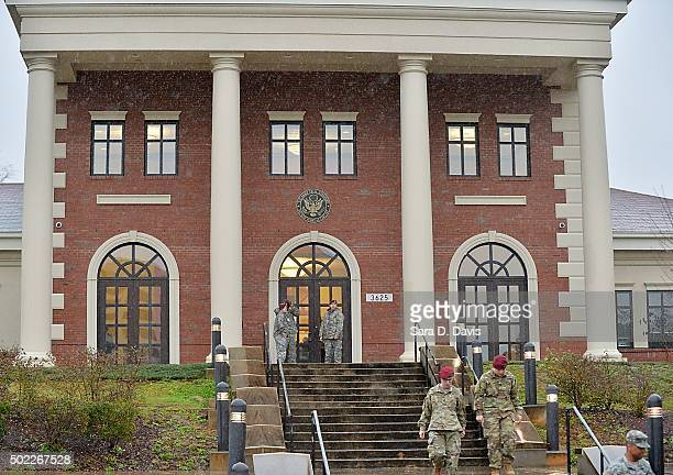 Military personnel leave the Ft Bragg Courthouse after the arraignment of Army Sgt Bowe Bergdahl on December 22 2015 in Ft Bragg North Carolina...