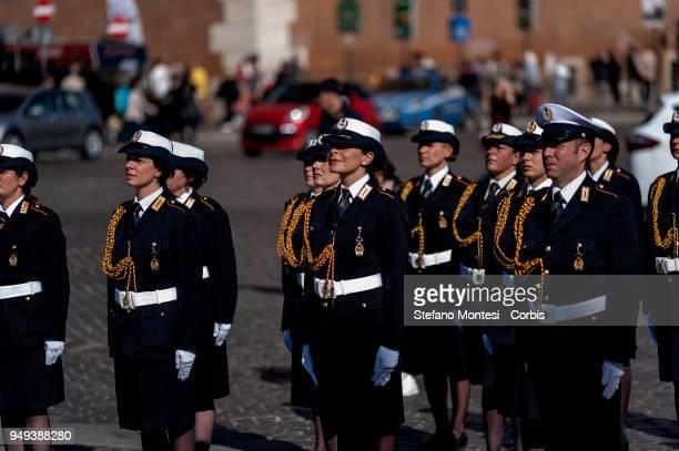 Military personnel line-up during celebrations for 2771th anniversary of the founding of Rome beside the Altare della Patria in Piazza Venezia on...