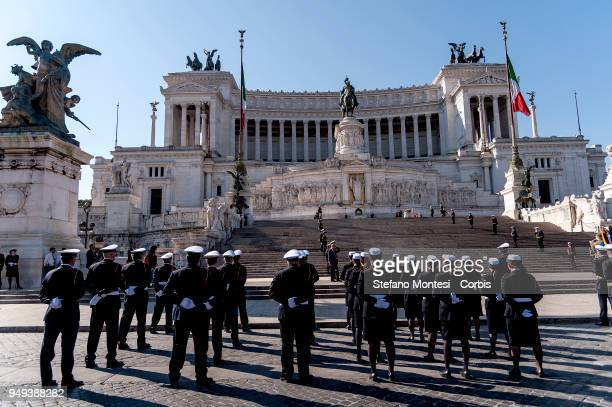 Military personnel lineup during celebrations for 2771th anniversary of the founding of Rome beside the Altare della Patria in Piazza Venezia on...