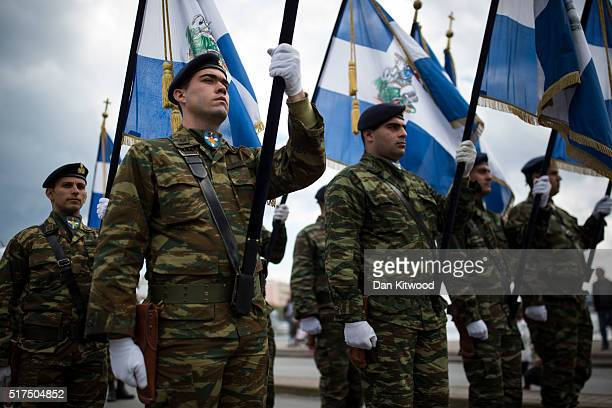 Military personnel march during the Independence Day parade on March 25 2016 in Mytilene Greece The annual parade marks the anniversary of Greek...