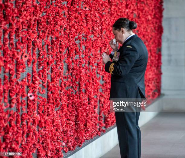 military personnel moved by the wall of remembrance, canberra act. - cenotaph stock pictures, royalty-free photos & images