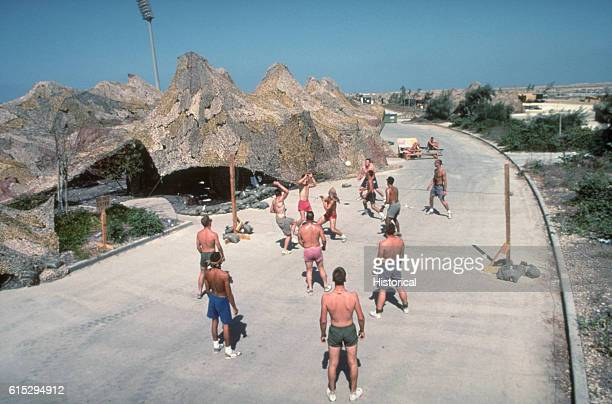 US military personnel occupy their spare time playing sports during Operation Desert Shield Saudi Arabia September 1990