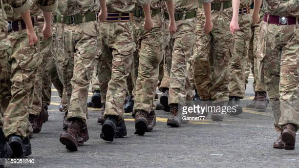 military personnel parading on union street, aberdeen during armed forces day, 2019 - army stock pictures, royalty-free photos & images