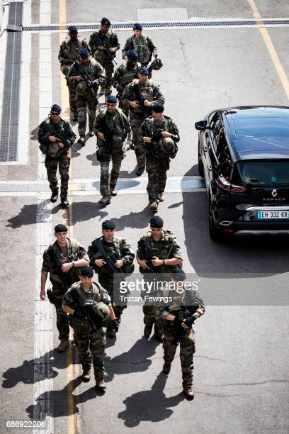 Military personnel patrol during the 70th annual Cannes Film Festival at on May 22 2017 in Cannes France