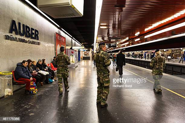 Military personnel patrol the Auber subway station on January 8 2015 in Paris France France is on maximum security threat level after twelve people...