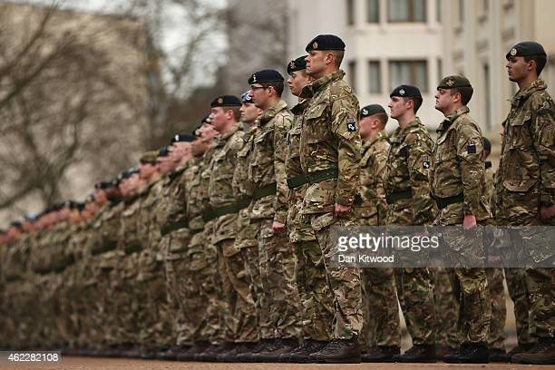 Military personnel prepare to march into the Houses of Parliament on January 26 2015 in London England 120 military personnel from all three services...