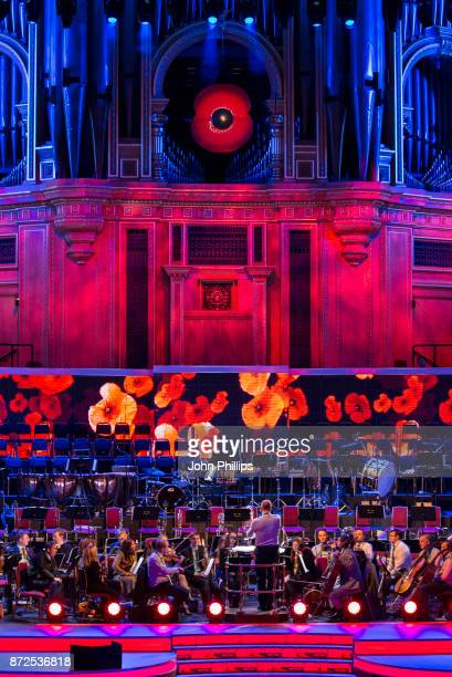 Military personnel rehearse for their performance at The Royal British Legion's Festival of Remembrance at Royal Albert Hall on November 10, 2017 in...