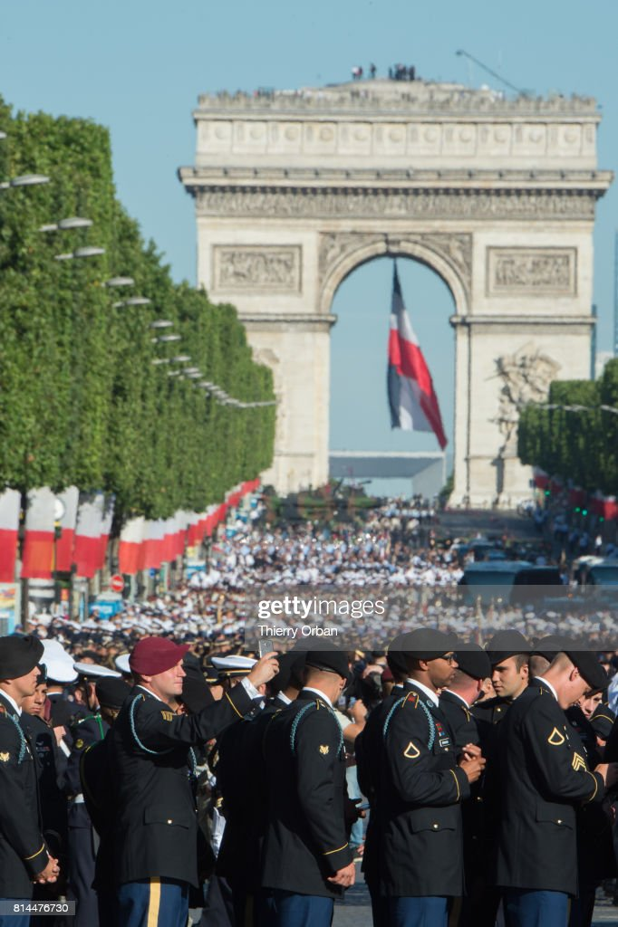 US Military personnel take part in Friday's Bastille Day celebrations and military parade on the Avenue des Champs-Elysees on July 14, 2017 in Paris, France. Members of the U.S. Marine Forces, 1st Infantry Division, 173rd Infantry Brigade Combat Team and 7th Army Training Center are taking part as the celebrations mark the 100 years that the United States entered the First World War and present day good relations between the France and the United States.