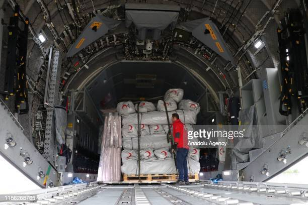 A military plane carrying humanitarian aid materials of Turkeys Disaster and Emergency Management Authority and Turkish Red Crescent to earthquake...