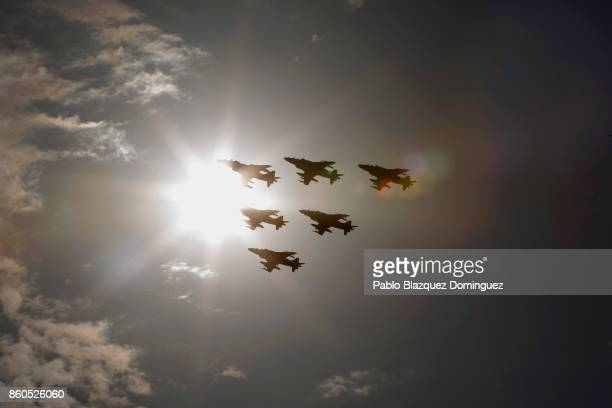 Military planes fly over during Spain's National Day military parade at Castellana Street on October 12 2017 in Madrid Spain Madrid celebrates every...
