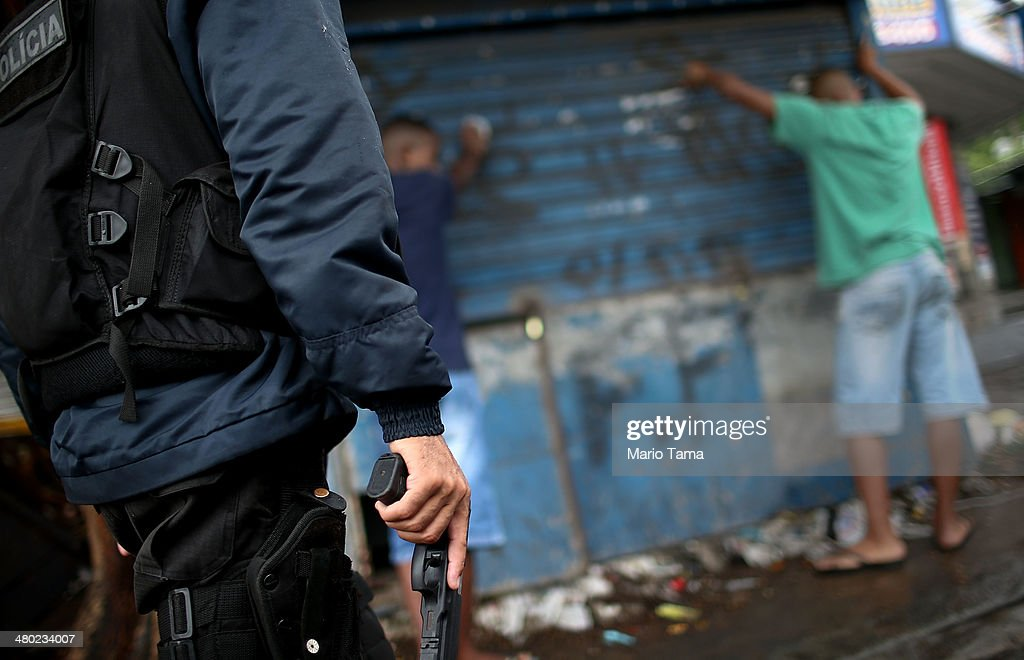 Rio's Pacified Favelas Face Challenges Ahead Of World Cup : News Photo
