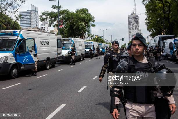 Military police prepare to clash with demonstrators around G20 Leaders' Summit during a protest against Argentina G20 Leaders' Summit 2018 on...