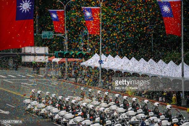 Military police stand in front of the Presidential Palace to mark the island's National Day celebrations on October 10 2018 in Taipei Taiwan Taiwan...