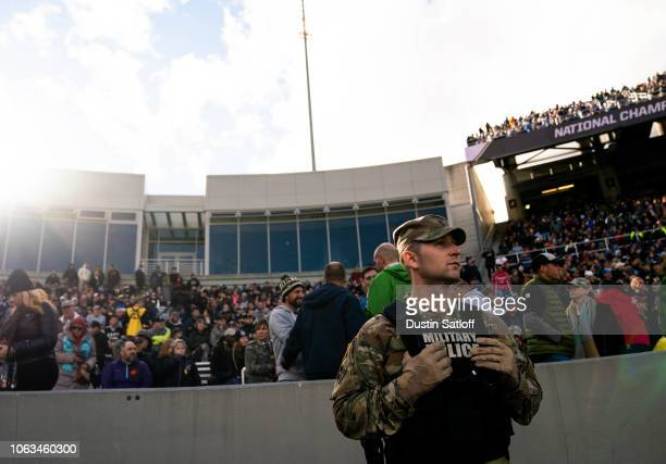 Military Police stands on the sidelines during a game between the Army Black Knights and the Air Force Falcons at Michie Stadium on November 3 2018...