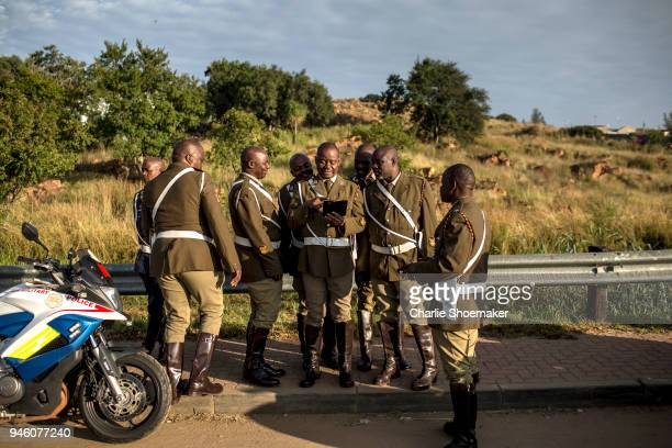 Military Police that escort the body of Winnie Mandela to her funeral at Orlando Stadium wait for the convoy to to leave in Soweto South Africa on...