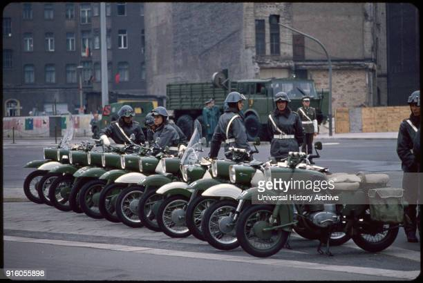 Military Police with Motorcycles Prior to May Day Parade East Berlin German Democratic Republic May 1 1974