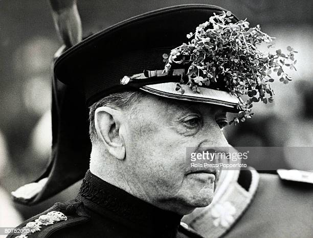 Military, Politics, England, pic: 17th March 1966, Viscount Alexander, pictured wearing shamrock sprigs in his cap at a St,Patrick's Day parade in...
