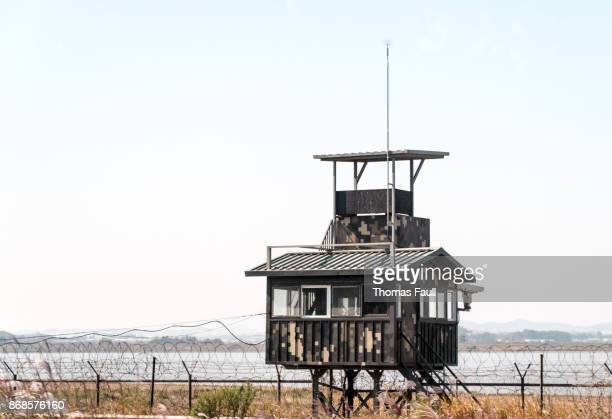 Military post in on border of South and North Korea in DMZ