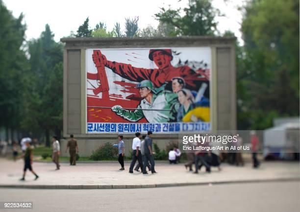 Military propaganda billboard in the street Pyongan Province Pyongyang North Korea on September 9 2011 in Pyongyang North Korea