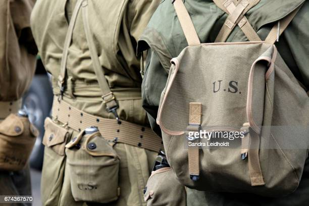 military reenactors at denver's st patrick's day parade - colorado - world war ii stock pictures, royalty-free photos & images
