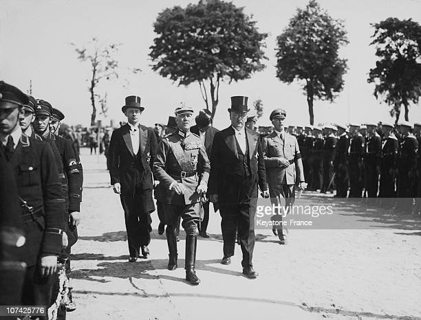 Military Review By Von Papen And Dr Gurtner At Tannenberg In Germany On August 7Th 1934
