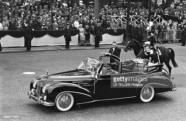 Military Review Of July 14Th Paris le 14 juillet 1956 arrivée en automobile du président de la république française René COTY venu assister au défilé...