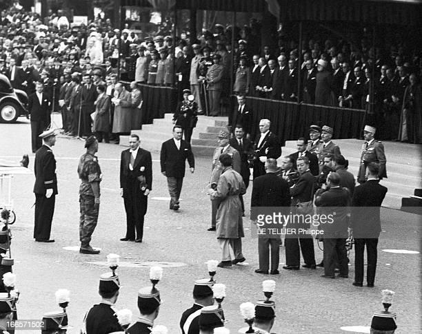 Military Review Of July 14Th Paris le 14 juillet 1956 le défilé sur les Champs Elysées Le président de la république René COTY devant la tribune...