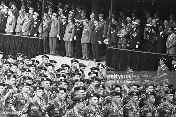 Military Review Of July 14Th Paris le 14 juillet 1956 le défilé sur les Champs Elysées Les militaires défilent devant la tribune officielle