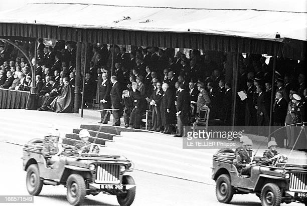 Military Review Of July 14Th Paris le 14 juillet 1956 le défilé sur les Champs Elysées des véhicules militaires devant la tribune officielle