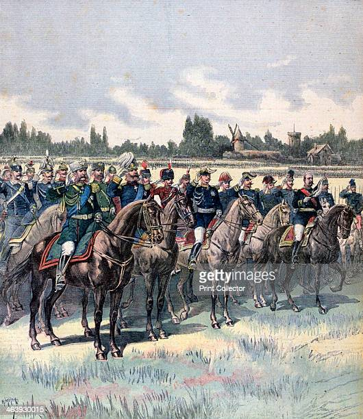 Military review with General Saussier and foreign military attaches 14th July 1891 A print from the Le Petit Journal 18th July 1891