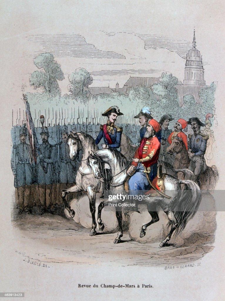 'Military Review with Ibrahim Pacha, Champ de Mars, Paris', c1846 (1847). Artist: Gerard Corbiau : News Photo