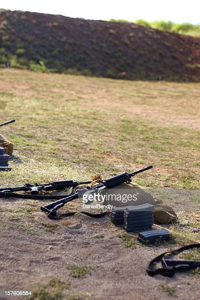 u.s. military rifles on range - ammunition magazine stock photos and pictures