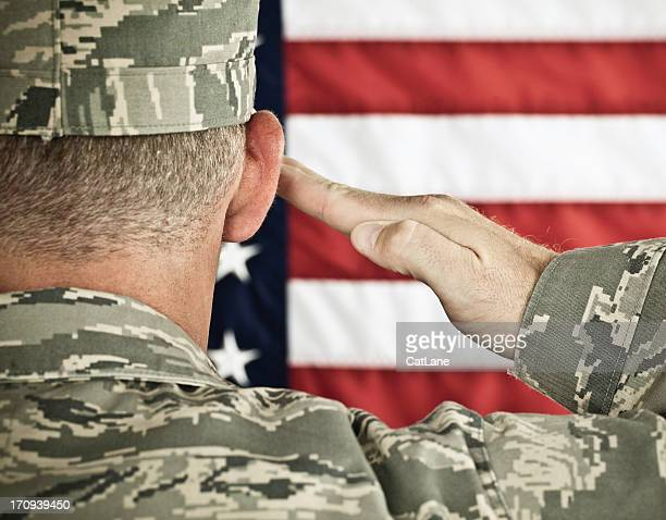 military salute horizontal in newest uniform - saluting stock pictures, royalty-free photos & images