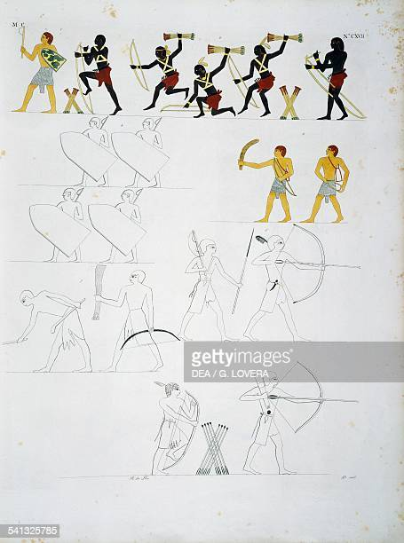 Military scenes soldiers with bows and arrows from the tombs of Beni Hasan Plate CXVIII from The monuments of Egypt and Nubia civil monuments...