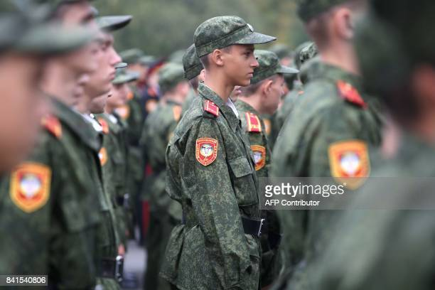 Military school cadets attend a ceremony as the academic year begins in Donetsk on September 1 2017 While Ukraine and Kremlinbacked separatists...