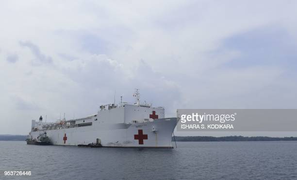 US Military Sealift Command hospital ship the USNS Mercy sails through Sri Lanka's Trincomalee port in Trincomalee on May 2 2018 US and partner...