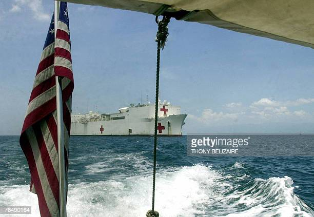 Military Sealift Command hospital ship USNS Comfort is seen at anchorage off the coast of Haiti near Port-au-Prince 03 September, 2007. Comfort is on...