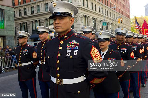 Military service men and women and military academies join veterans for New York City's annual Veteran's Day parade up 5th Avenue in Manhattan on...