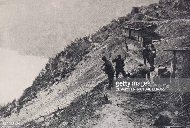 Military shelter between the River Adige and Lake Garda Italy World War I from l'Illustrazione Italiana Year XLV No 21 May 26 1918