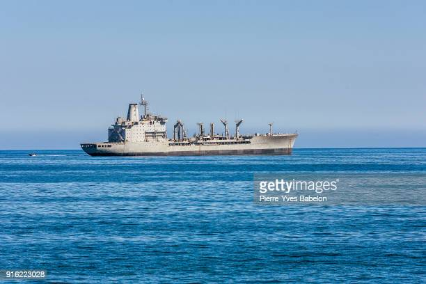 Military ship anchored