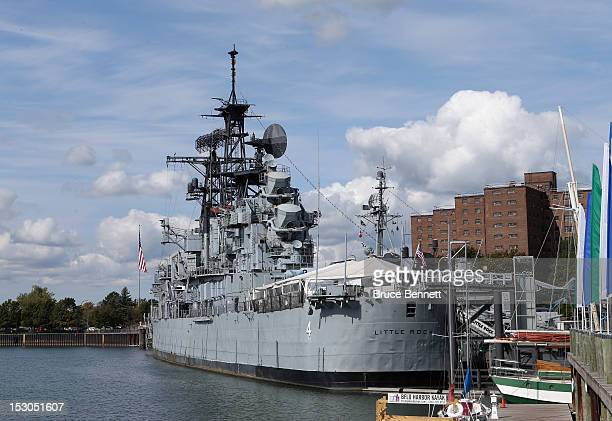 Military ships and jets dot the lanscape along the Buffalo Harbor in the Naval and Military Park September 29, 2012 in Buffalo, New York.