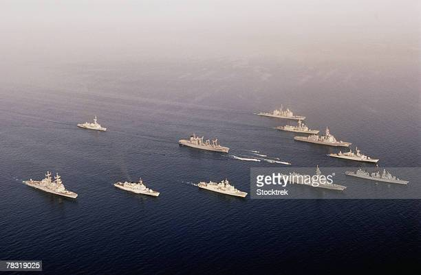 Military ships in formation