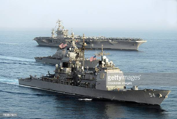 military ships transit through open water. - gulf of oman ストックフォトと画像