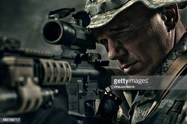 military sniper prepares to take a shot - ar 15 stock pictures, royalty-free photos & images