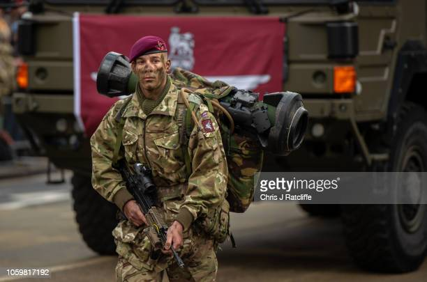A military soldier marches with a rocket launcher during the Lord Mayor's Show on November 10 2018 in London England The Lord Mayor's Show makes it's...