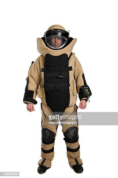 military soldier technician wears bomb suit