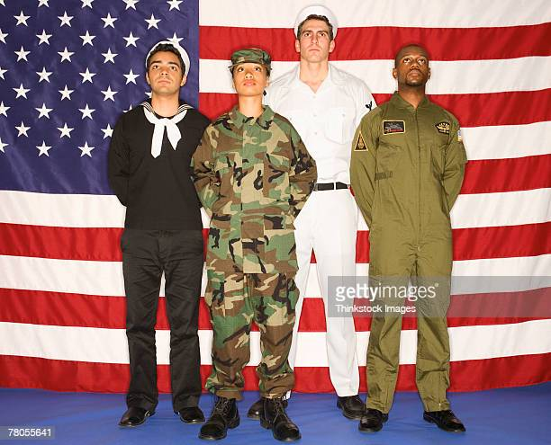 US military soldiers and American flag